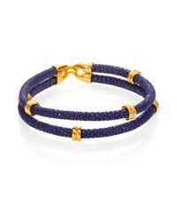 Stinghd - Blue 14k Goldplated & Stingray Wrap Bracelet for Men - Lyst