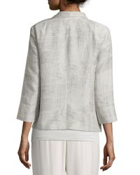 Eileen Fisher - Metallic Linen Jacquard Jacket - Lyst