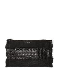 Cutuli Cult | Black Small Croc & Laser-cut Leather Pouch | Lyst