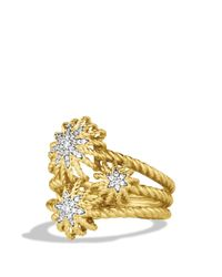 David Yurman | Yellow Starburst Cluster Ring With Diamonds In Gold | Lyst