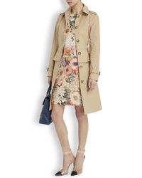 Tory Burch - Brown Carla Camel Peplum Cotton Trench Coat - Lyst