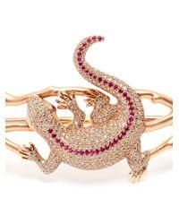 Gaydamak | Pink 18k Rose Gold And Ruby Iguane Hand Bracelet | Lyst