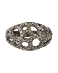 Bavna | Metallic Sterling Silver Ring With Pave Diamonds | Lyst
