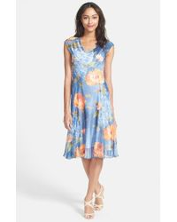 Komarov - Blue Cap Sleeve Floral Print Dress - Lyst
