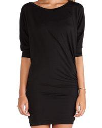Splendid - Black Shirred 3/4 Slv Dress - Lyst