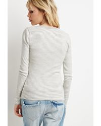 Forever 21 | Natural Buttoned Stripe-patterned Tee | Lyst
