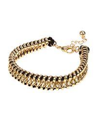 River Island | Gold Tone Black Chain Bracelet for Men | Lyst