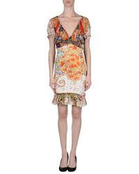 Roberto Cavalli - Orange Short Dress - Lyst