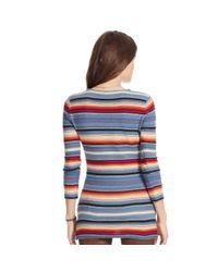 Ralph Lauren | Blue Striped Knit Linen-cotton Top | Lyst