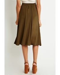 Forever 21 - Green Button-front A-line Skirt - Lyst