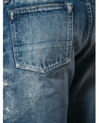 Fabric-Brand & Co. - Blue Distressed Buttoned Jeans for Men - Lyst