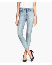 H&M - Blue Skinny High Jeans - Lyst