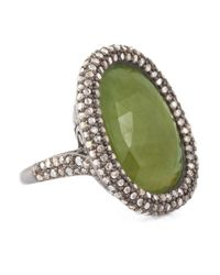 Bavna - Sterling Silver Green Sapphire Oval Ring With Champagne Rose Cut Diamonds - Lyst