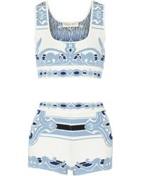 Emilio Pucci - Blue Cotton-Blend Jacquard Coverup - Lyst