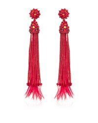 Oscar de la Renta - Feather Beaded and Crystal Clip Earrings in Red - Lyst
