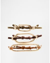 ASOS | Multicolor Pack Of 3 Open Shapes Fabric Bracelets | Lyst