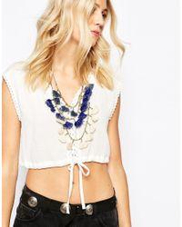 Mango | Blue Tassle Necklace | Lyst
