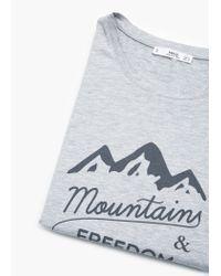Mango - Gray Printed Cotton T-shirt - Lyst