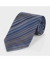 Paul Smith | Blue Navy Signature Stripe Classic Silk Tie for Men | Lyst