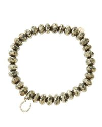 Sydney Evan - Metallic 8Mm Faceted Champagne Pyrite Beaded Bracelet With 14K Yellow Gold/Diamond Small Evil Eye Charm (Made To Order) - Lyst