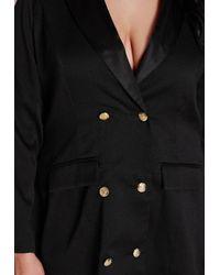 Missguided | Plus Size Tuxedo Satin Collar Dress Black | Lyst