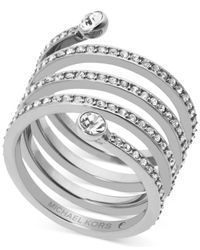 Michael Kors | Metallic Pave Crystal Twist Ring | Lyst