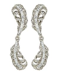 Oscar de la Renta | Gray Crystal Double-feather Earrings | Lyst