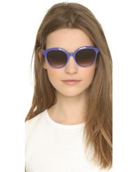 Fendi - Blue Classic Colorblock Sunglasses - Black/Dark Grey Gradient - Lyst