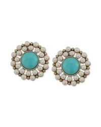 Carolee | Blue Antique Goldtone Turquoise Bead and Imitation Pearl Clipon Button Earrings | Lyst