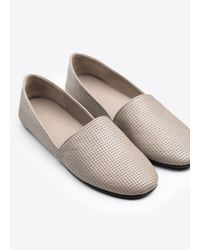 VINCE | Gray Bogart Perforated-Leather Slip-On Flats | Lyst