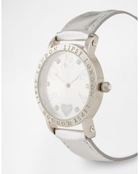Lipsy - Metallic Watch with Silver Leather Look Strap - Lyst