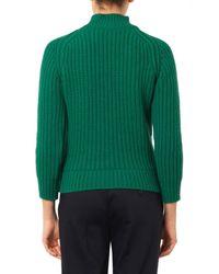 Maison Kitsuné - Green Ribbed-knit Wool Sweater - Lyst