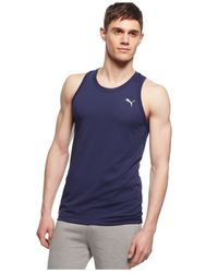 PUMA | Blue Solid Essential Tank for Men | Lyst