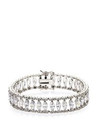 CZ by Kenneth Jay Lane - Gray Rhodium-Plated Tennis Bracelet - Lyst