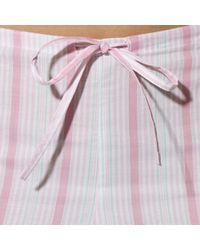 Lauren by Ralph Lauren - Pink Striped Cropped Pajama Set - Lyst