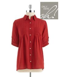 Lord & Taylor | Red Petite Pintuck Accented Blouse | Lyst