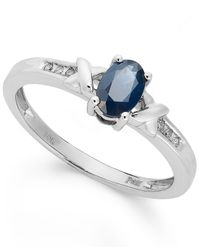 Macy's | 10K White Gold Ring, Sapphire (1/2 Ct. T.W.) And Diamond Accent Double X Ring | Lyst
