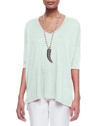 Eileen Fisher | Green Linen Box Sweater | Lyst
