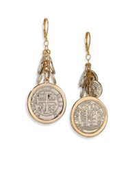 Kenneth Jay Lane | Metallic Framed Cluster Charm Drop Earrings | Lyst