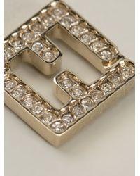 Fendi - Metallic Logo Earrings - Lyst