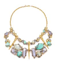 Alexis Bittar | Multicolor Elements Moonlight Amazonite, Mother-Of-Pearl & Crystal Large Articulated Bib Necklace | Lyst