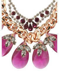 Mawi | Pink Tear Drops And Crystal Leaves Necklace | Lyst