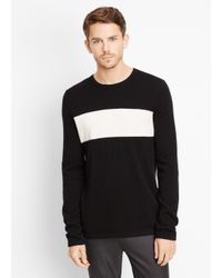 Vince - Black Wool Cashmere Block Stripe Crew Neck Sweater for Men - Lyst