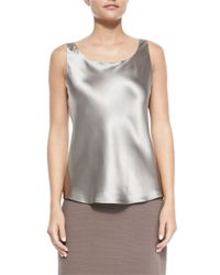 Lafayette 148 New York | Natural Charmeuse Silk Bias Tank | Lyst