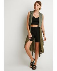 Forever 21 | Green Drapey Longline Belted Vest | Lyst
