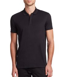 Theory | Black Zip Cotton Polo for Men | Lyst