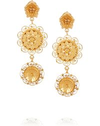 Dolce & Gabbana | Metallic Filigree Gold-Plated Swarovski Crystal Clip Earrings | Lyst