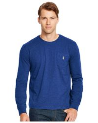 Polo Ralph Lauren   Blue Long-sleeved Jersey Pocket Crewneck for Men   Lyst