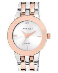 Anne Klein - Metallic Diamond Accent Bracelet Watch - Lyst