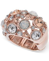 Guess | Pink Rose Gold-tone Fireball Peach Crystal Stretch Ring | Lyst